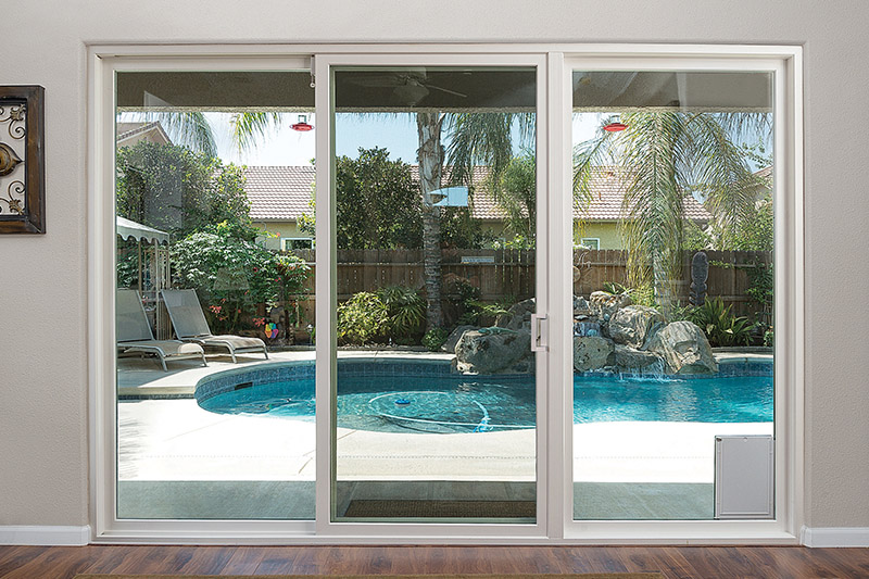 Anlin sliding patio door with pet door